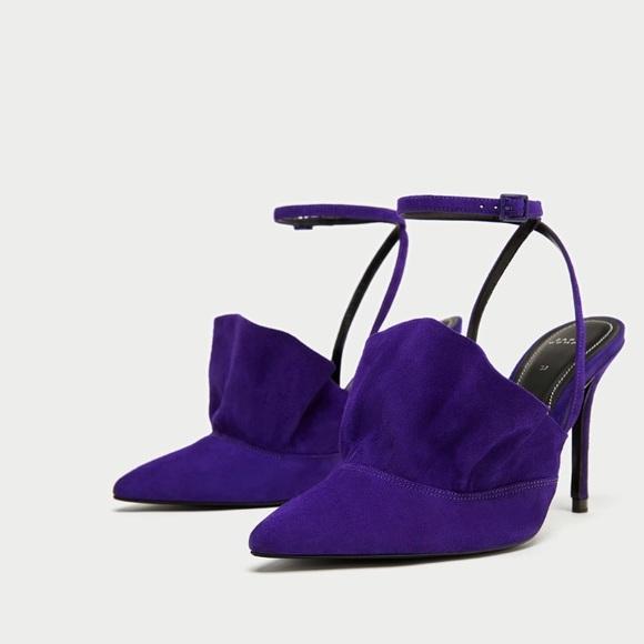 8c8d2dd5411 ZARA Ruffled Leather High Heel Shoes